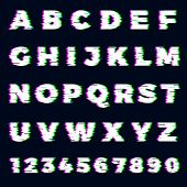 Glitch Font. Destroyer Alphabet Letters Dynamic Screen Effect Gaming Typography Font Vector Template poster