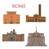 Rome Travel Landmarks, Italy Architecture And Famous Sightseeing Symbols. Vector Santa Maria Church  poster