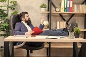 Analyzing Financial Report. Financial Report. Owner Of Small Business. Man Bearded Businessman Sit O poster