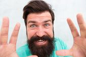 I Am Going Catch You. Stylish Beard And Mustache Care. Happy Face. Beard Fashion And Barber. Handsom poster