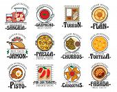 Spanish Cuisine Food, Traditional Snacks And Desserts, Restaurant Cafe Menu Dishes. Vector Spain Aut poster