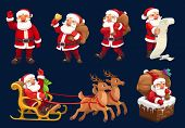 Santa Claus Vector Icons Of Christmas And New Year Design. Santa With Xmas Gifts, Bag And Red Hat, R poster