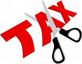 picture of scissors  - Pair of scissors cuts unfair too high taxes in half - JPG