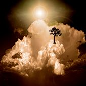 Surreal cloudscape and tree with red leaves. 3D rendering poster