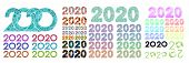 Set Of 2020 Printed Multicolored Colorful Numbers. New Calendar Year. Calendar Design. Digital Inscr poster
