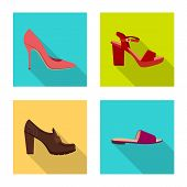 Vector Design Of Footwear And Woman Symbol. Set Of Footwear And Foot Stock Symbol For Web. poster