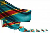 Cute Democratic Republic Of Congo Isolated Flags Placed Diagonal, Photo With Bokeh And Place For You poster