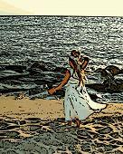 Girl In Dress on Beach Illustration
