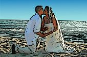 Wedding Kiss on Beach Illustration