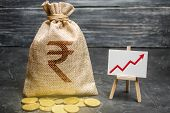 Indian Rupee Inr Symbol Money Bag And Red Trend Arrow Up Chart. Deposit And Savings. Increasing Prof poster