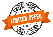 Limited Offer Label. Limited Offer Orange Band Sign. Limited Offer poster