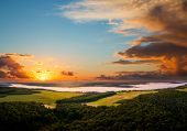 Attractive top view on rural landscape at dawn. Location place Dnister or Dniestr canyon, Ukraine, E poster