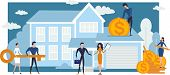 Concept Mortgage Loan. Flat People Conclude A Mortgage Agreement Buy Real Estate And Pay Credit. Pro poster