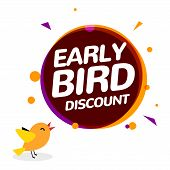Early Bird Discount Vector Special Offer Sale Icon. Early Bird Icon Cartoon Promo Sign Banner poster