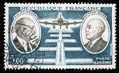 FRANCE - CIRCA 1971: stamp printed by France, shows Didier Daurat and Raymond Vanier, circa 1971
