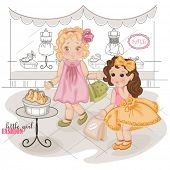 Fashionable little girls with purchases in shopping consider a handbag