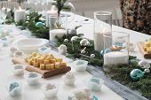 Christmas Dinner, Christmas Table Decoration, A Burning Candle, Tangerines On The Table, Banquet Tab poster