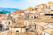 Traditional Italian Village Scenery. Cityscape Of Curinga In Calabria, Italy. Medieval Cityscape Sky poster