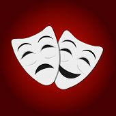 Comedy And Tragedy Theatrical Masks. White Theatrical Masks On Red Background. Theater Mask Flat Ico poster