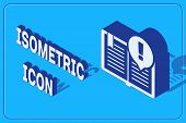 Isometric Interesting Facts Icon Isolated On Blue Background. Book Or Article Sign. Exclamation Mark poster