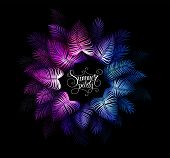 Neon Tropical Night Summer Party Vector Background. Hawaiian Party. Dark Jungle Tropical Exotic Illu poster