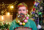 New Year Party. Smiling Santa Man With Decorated Beard. Bearded Santa Man With Decorated Beard. Deco poster