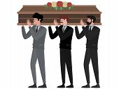 The Funeral Ceremony, Men Carry The Coffin. In Minimalist Style Cartoon Flat Raster, Isolated On Whi poster