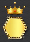 Royal Sign Of Monarchy Vector, Isolated Banner With Golden Bulbs And Shining. Corona With Gemstones, poster