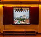 Look From Window In Wak Saket Temple (golden Mount) In Bangkok City, Thailand. Wooden Ancient Window poster