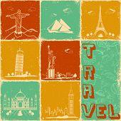 Постер, плакат: Иллюстрация известный памятник в путешествия коллаж фон
