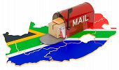 Mailbox On The Map Of South Africa. Shipping In South Africa, Concept. 3d Rendering Isolated On Whit poster