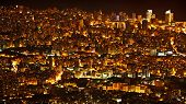 Night city background, beautiful urban cityscape, Beirut with street lights, high buildings and skys