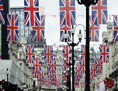 LONDON, UK, JUNE 1: Regent Street is decorated with Union Jack flags to celebrate the Queen's Diamon