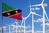 Saint Kitts And Nevis Alternative Energy, Wind Energy Industrial Concept With Windmills And Flag - A poster