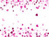 Pink Crimson Hearts Confetti Frame Border Love Symbols Vector Background. Lovely Flying Hearts Shape poster