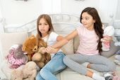 Toys Shop. Cute Soft Toys. Generosity And Greediness. Give It To Me. Kids Play Toys Bed. Little Girl poster