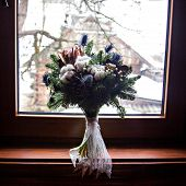 Winter Wedding   Bouquet Of The Bride. Beautiful Winter Wedding Bouquet With Cones, Cotton And Spruc poster
