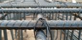 Reinforcing Steel Bars For Building New Concrete Structures. Base For Pouring Concrete. Concrete Con poster