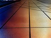 White Lines Of Stadium And Texture Of Running Racetrack Red Rubber Racetracks In Outdoor Stadium .   poster