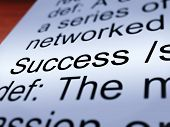 Success Definition Closeup Showing Achievements