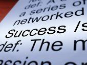 Success Definition Closeup Showing Achievements