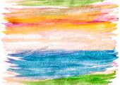 Seamless Multicolored Texture Of Watercolor Stripes. Careless Strokes And Stains Of Paint Can Contin poster