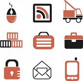 logistics & transport icons set, vector