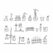 Chemistry Laboratory Devices Sketch Hand Drawn. Varieties Devices Fastening Glass Cups Scientific In poster