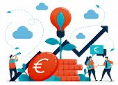 Ideas For Investment. Bank Interest And Savings Growth. Light Bulb Metaphor In Euro Coin Plant. Mutu poster