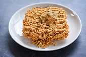 Instant Noodles On Bowl With Seasonings Monosodium Glutamate / Noodle Thai Junk Food Or Fast Food Di poster