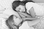 Children Friends. Charming Cute Kids Have Free Time Before Sleep. Dialogue Best Friends. Sisterhood  poster