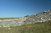 Drystone Wall On The Footpath Between Durlston And Dancing Ledge On The Dorset Coast poster