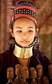 NAI SOI, THAILAND - FEB 3: Unidentified Karen long neck young woman in the village, review of daily