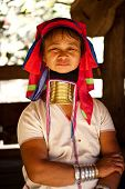 NAI SOI, THAILAND - FEB 3: Unidentified Karen long neck woman in the village, review of daily life o
